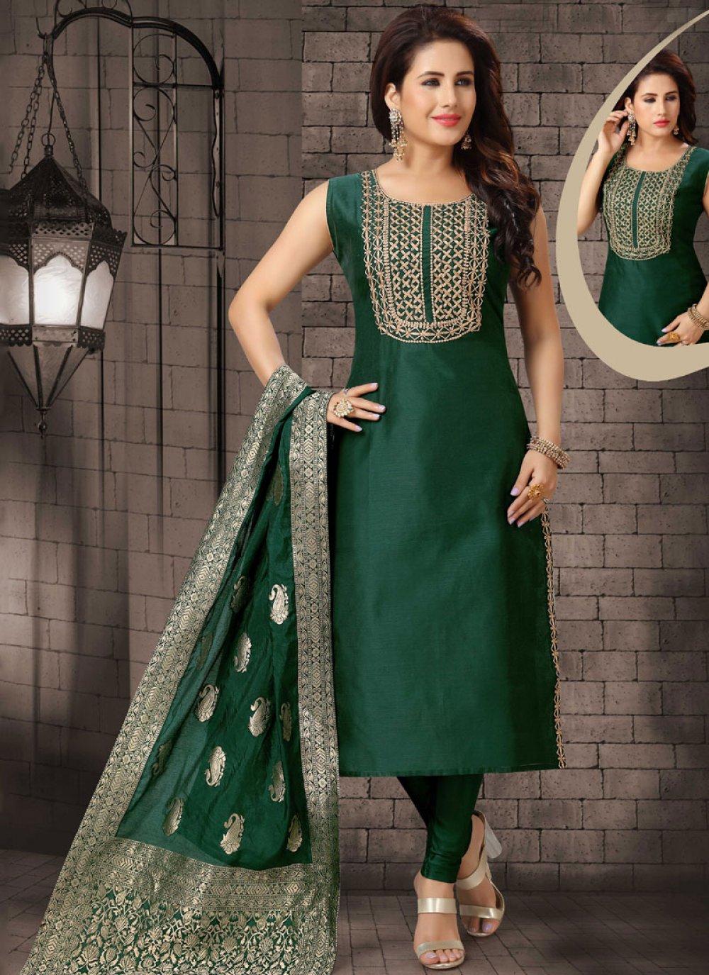 Dori Work Green Bhagalpuri Silk Salwar Suit