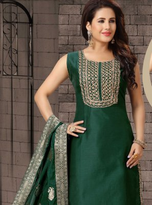Dori Work Green Bhagalpuri Silk Salwar Suit