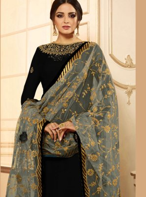 Drashti Dhami Black Faux Georgette Embroidered Churidar Designer Suit