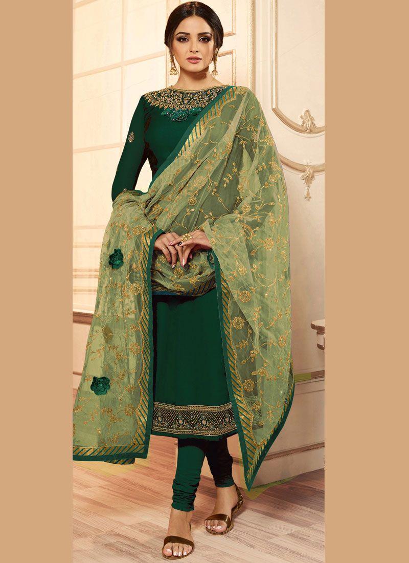 Drashti Dhami Magnificent Green Churidar Designer Suit