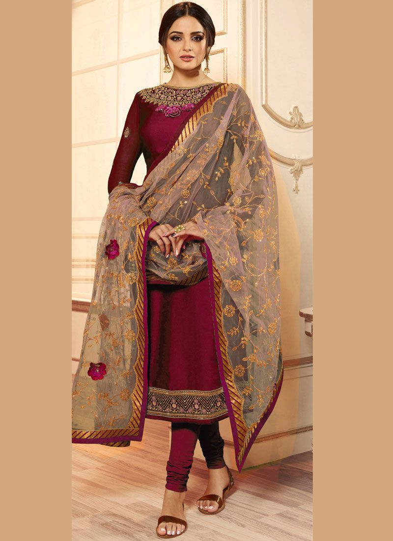 Drashti Dhami Rani Faux Georgette Churidar Designer Suit
