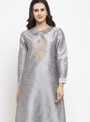 Dupion Silk Mehndi Readymade Salwar Suit