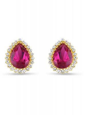Ear Rings Stone Work in Pink