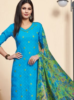Embroidered Aqua Blue Jacquard Salwar Suit