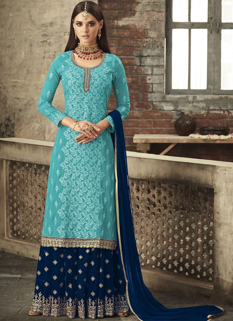 Embroidered Aqua Blue Trendy Palazzo Salwar Kameez
