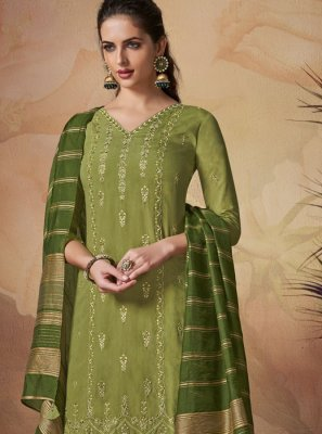 Embroidered Art Banarasi Silk Green Salwar Suit