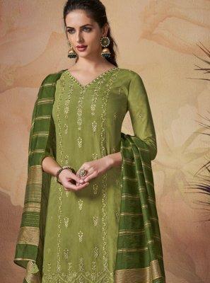 Embroidered Art Banarasi Silk Green Salwar Suit