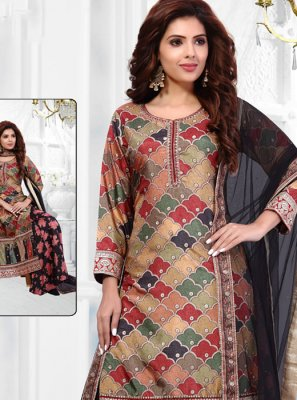 Embroidered Art Banarasi Silk Multi Colour Salwar Suit