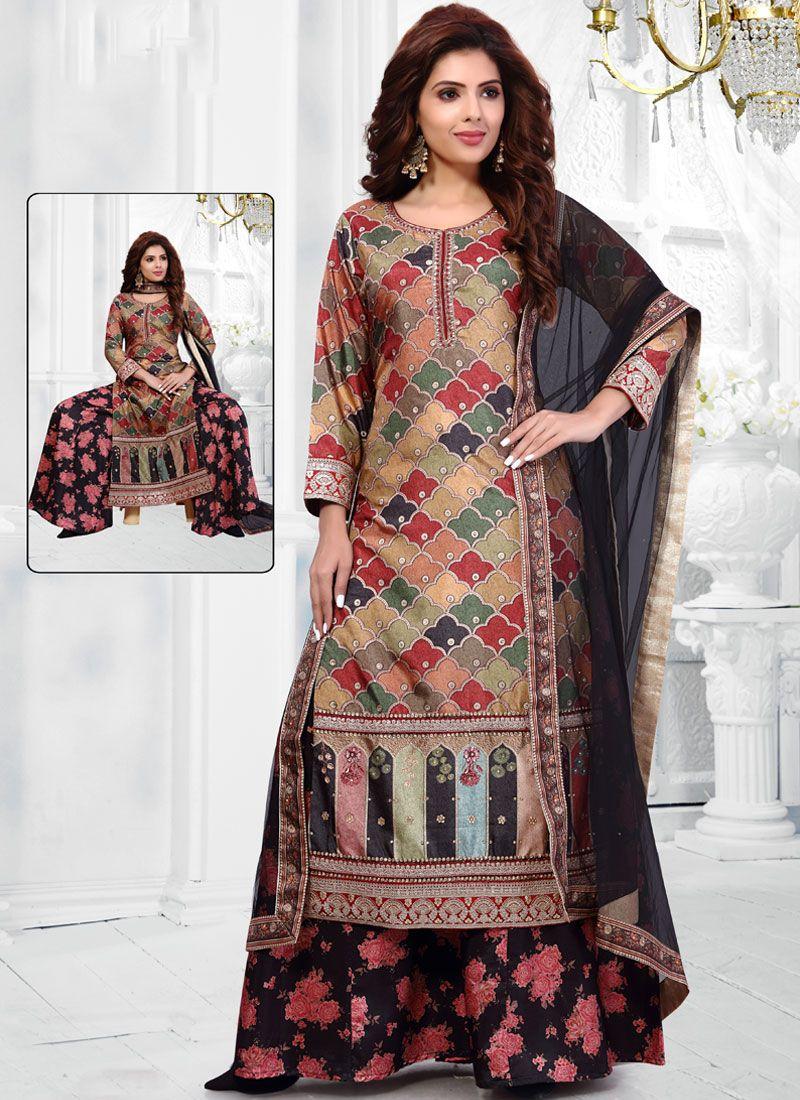Embroidered Art Banarasi Silk Multi Colour Salwar Suit