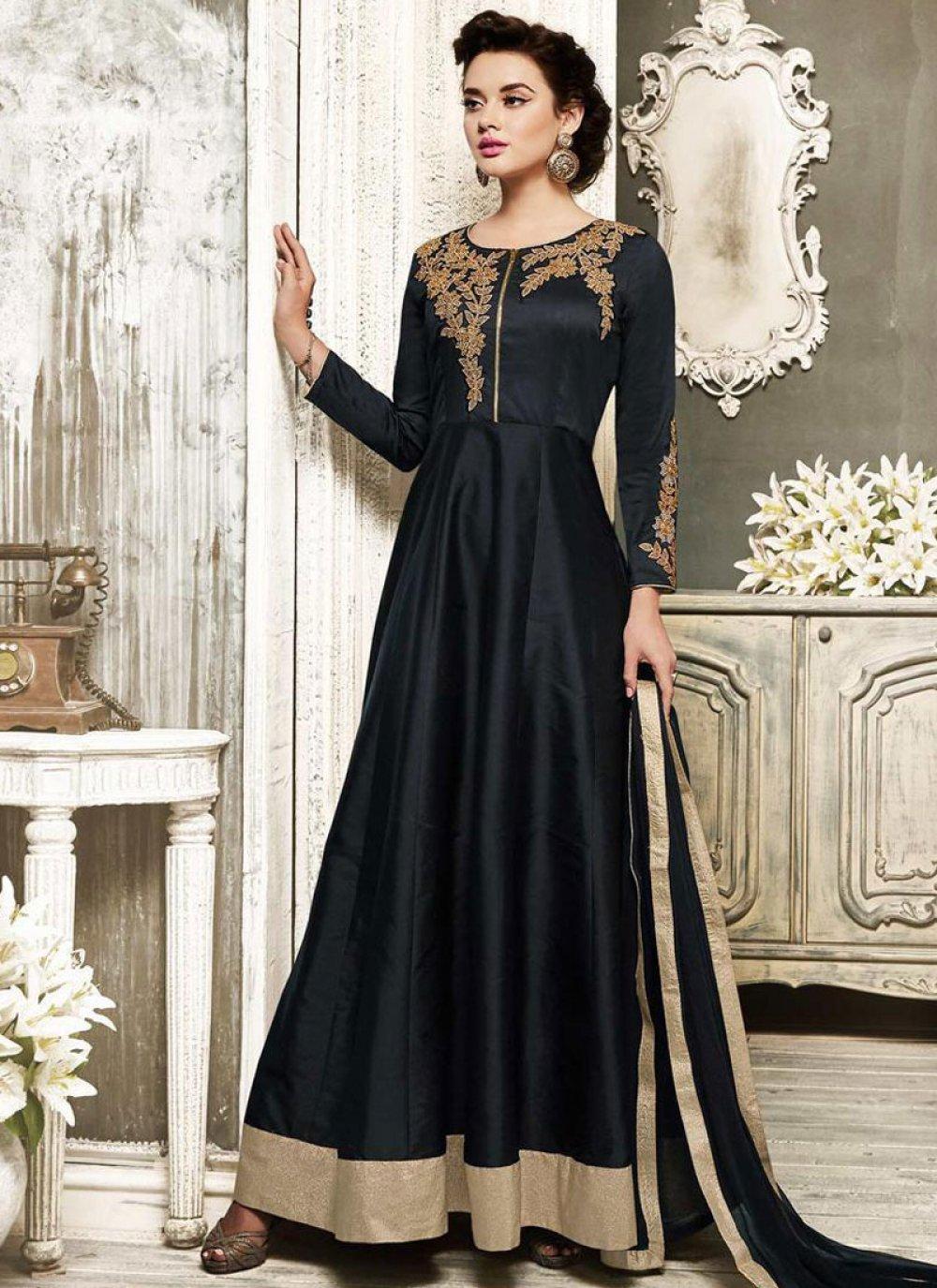 Embroidered Art Dupion Silk Black Salwar Suit