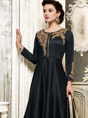 Embroidered Art Dupion Silk Black Salwar Suit