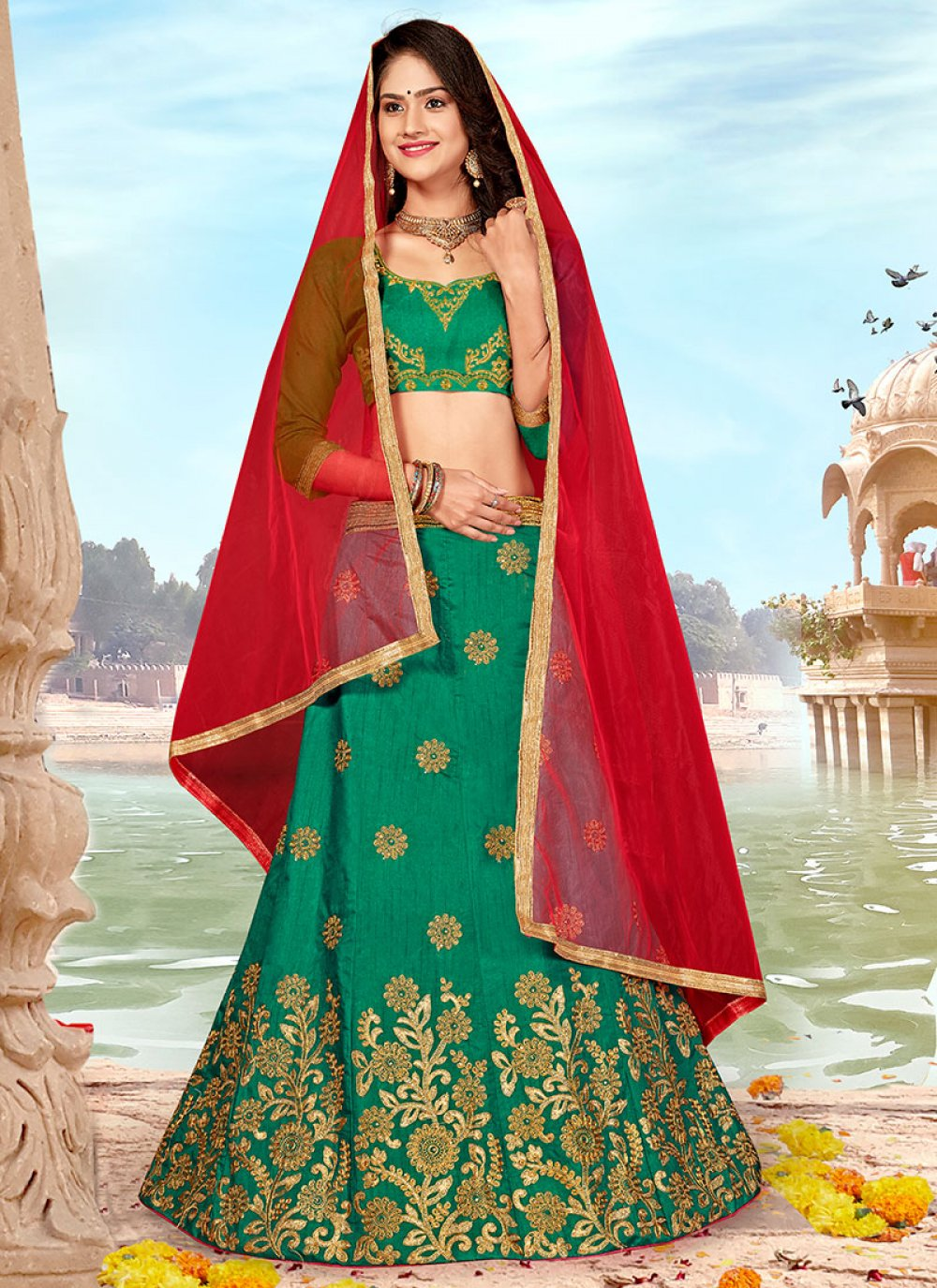 Embroidered Art Silk A Line Lehenga Choli