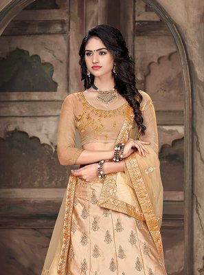 Embroidered Art Silk Beige Trendy A Line Lehenga Choli