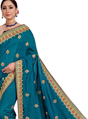 Embroidered Art Silk Blue Designer Saree