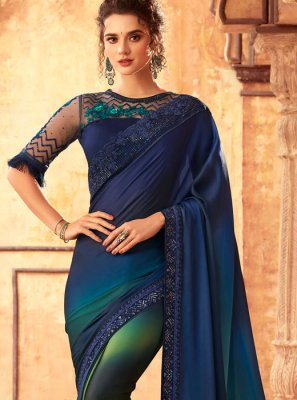 Embroidered Art Silk Blue Shaded Saree