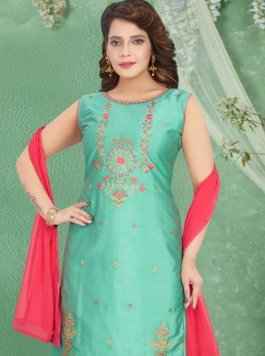 Embroidered Art Silk Churidar Salwar Suit