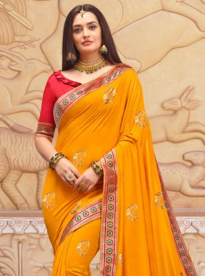 Embroidered Art Silk Classic Designer Saree in Orange
