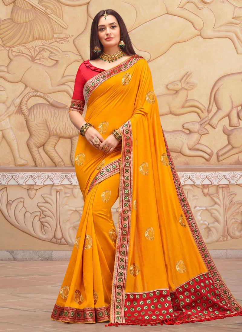 Embroidered Art Silk Classic Designer Saree in Orange