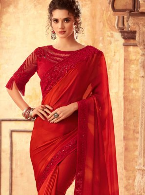 Embroidered Art Silk Classic Designer Saree in Red