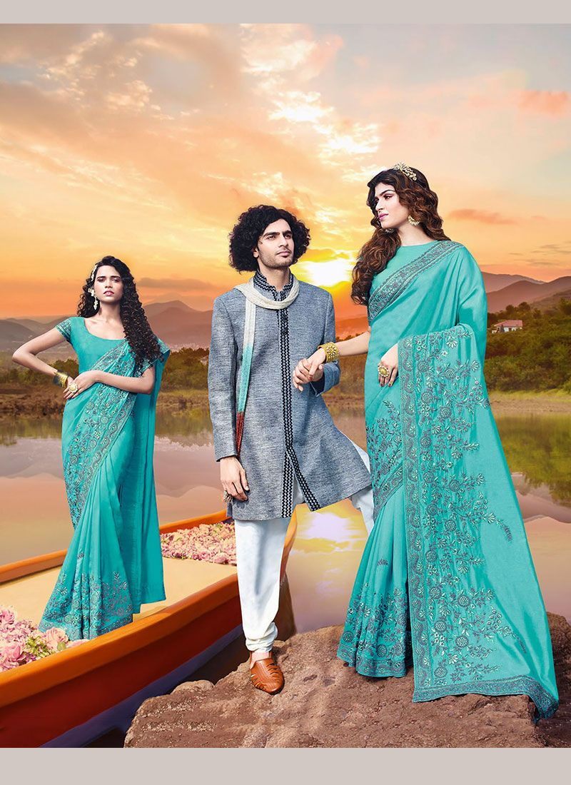 Embroidered Art Silk Classic Saree in Turquoise