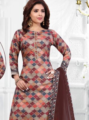 Embroidered Art Silk Cotton Multi Colour Salwar Suit