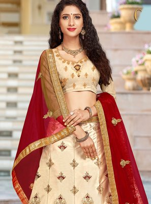 Embroidered Art Silk Cream Designer A Line Lehenga Choli
