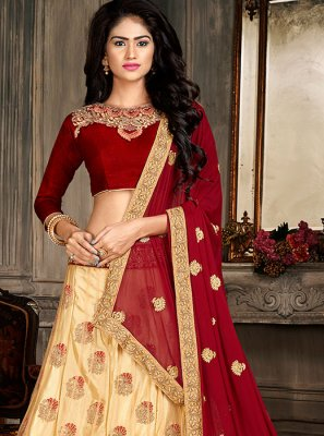 Embroidered Art Silk Designer A Line Lehenga Choli
