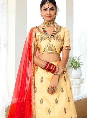 Embroidered Art Silk Designer Lehenga Choli in Beige