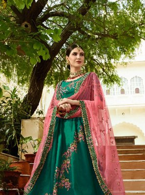 Embroidered Art Silk Designer Lehenga Choli in Green