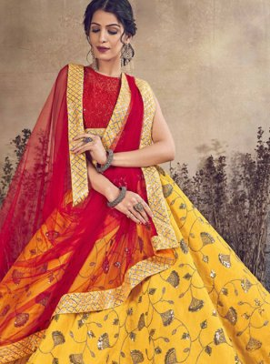 Embroidered Art Silk Designer Lehenga Choli in Mustard