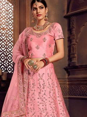 Embroidered Art Silk Designer Lehenga Choli in Pink