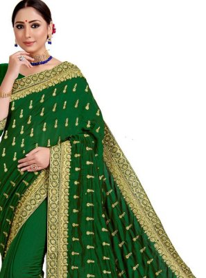 Embroidered Art Silk Designer Saree