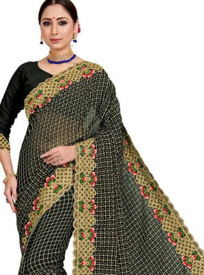 Embroidered Art Silk Designer Saree in Black