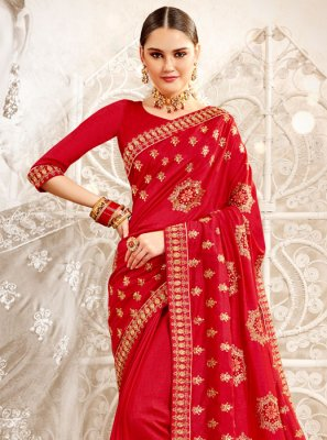 Embroidered Art Silk Designer Saree in Red