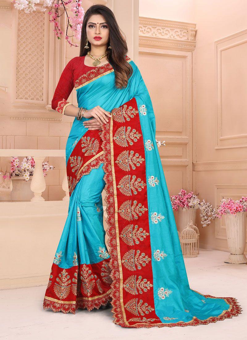Embroidered Art Silk Designer Traditional Saree