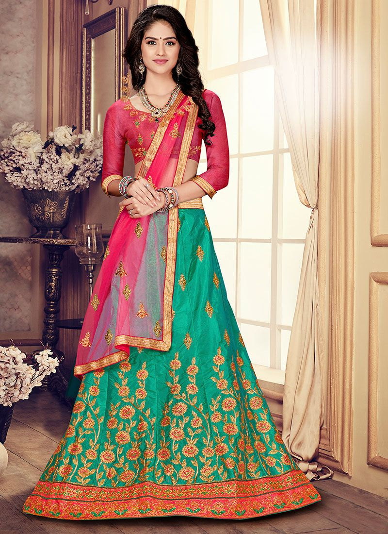 Embroidered Art Silk Green Trendy A Line Lehenga Choli
