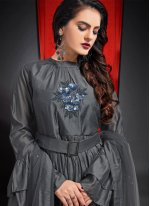 Embroidered Art Silk Grey Designer Gown