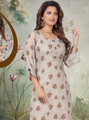 Embroidered Art Silk Grey Designer Salwar Suit
