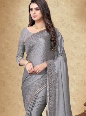 Embroidered Art Silk Grey Designer Saree