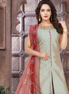 Embroidered Art Silk Grey Trendy Salwar Kameez