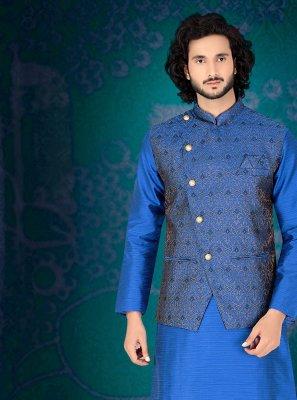 Embroidered Art Silk Kurta Payjama With Jacket in Blue
