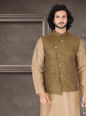 Embroidered Art Silk Kurta Payjama With Jacket in Brown