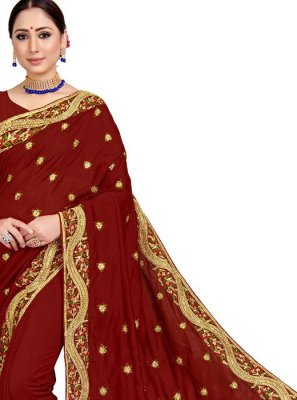 Embroidered Art Silk Maroon Designer Saree