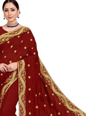 Embroidered Art Silk Maroon Designer Saree
