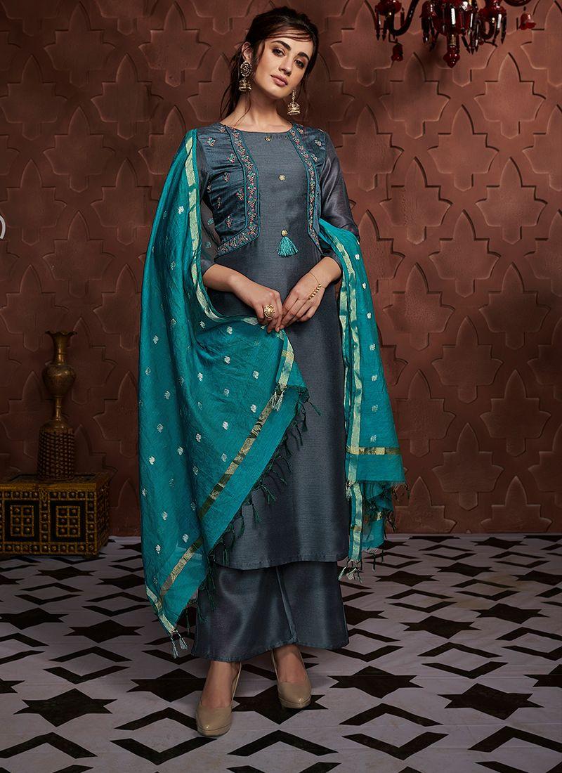 Embroidered Art Silk Navy Blue Readymade Salwar Kameez