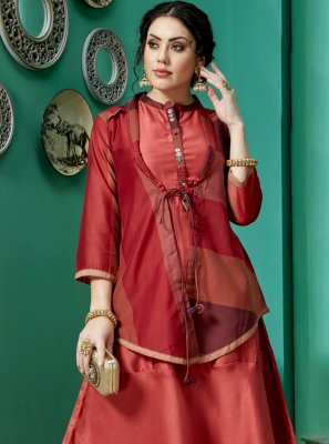 Embroidered Art Silk Orange and Red Party Wear Kurti