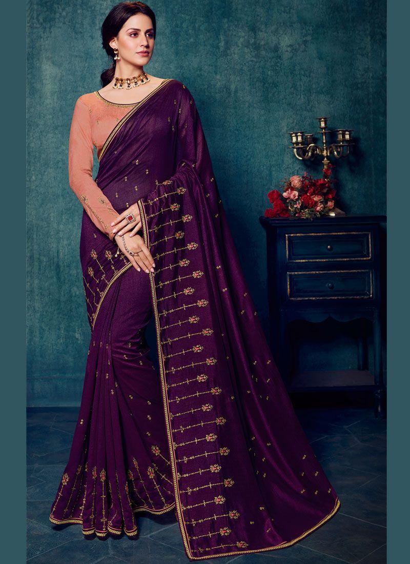 Embroidered Art Silk Purple Traditional Designer Saree