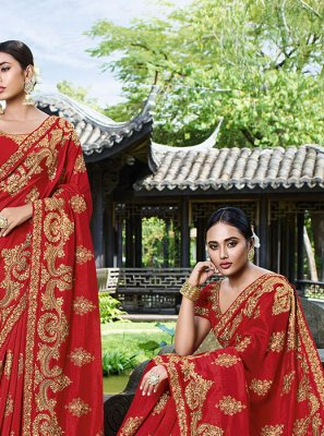 Embroidered Art Silk Red Classic Designer Saree