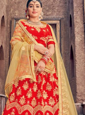 Embroidered Art Silk Red Designer Lehenga Choli