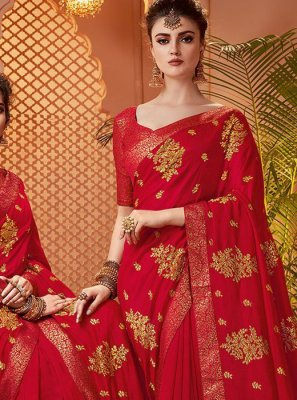 Embroidered Art Silk Red Designer Saree
